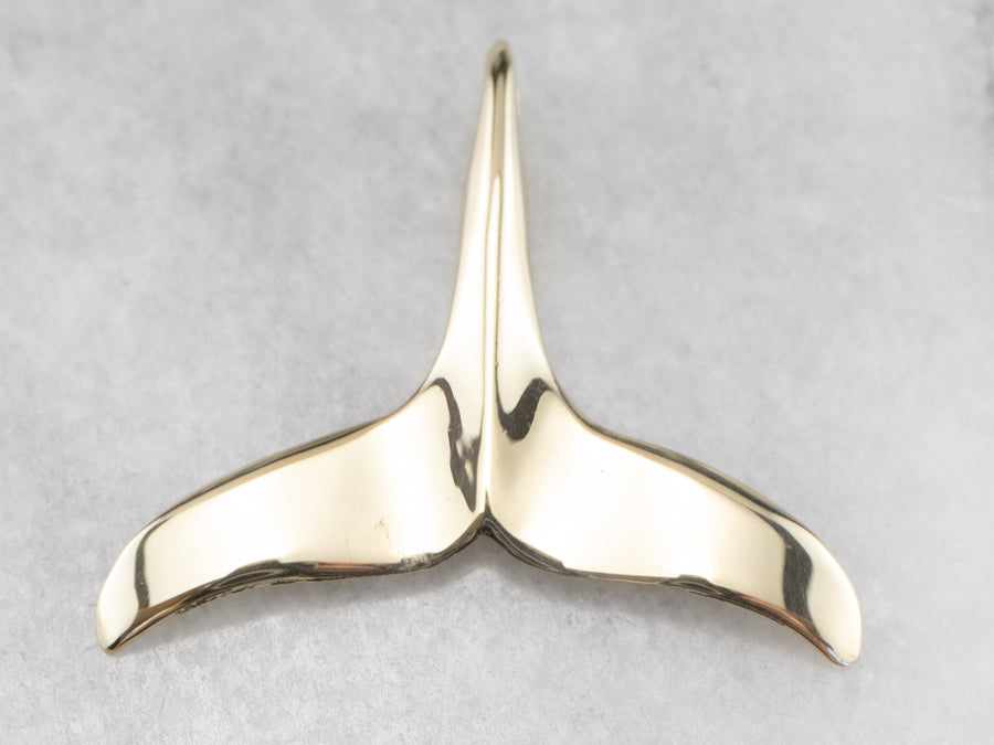Polished Gold Whale's Tail Pendant