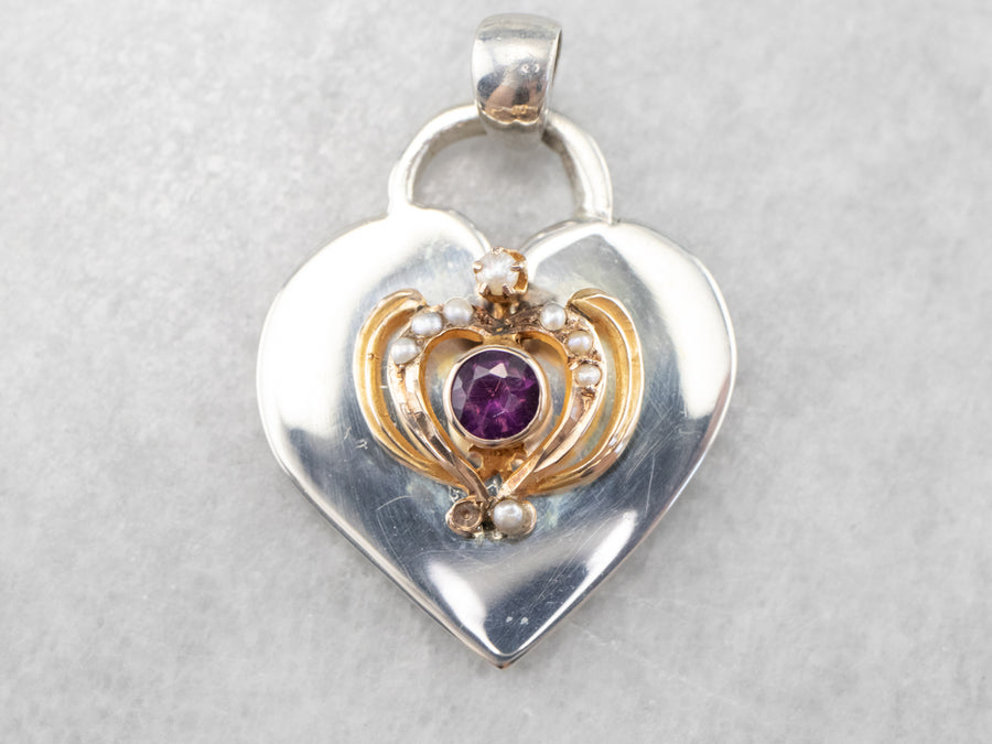 Mix Era Heart Seed Pearl and Amethyst Pendant