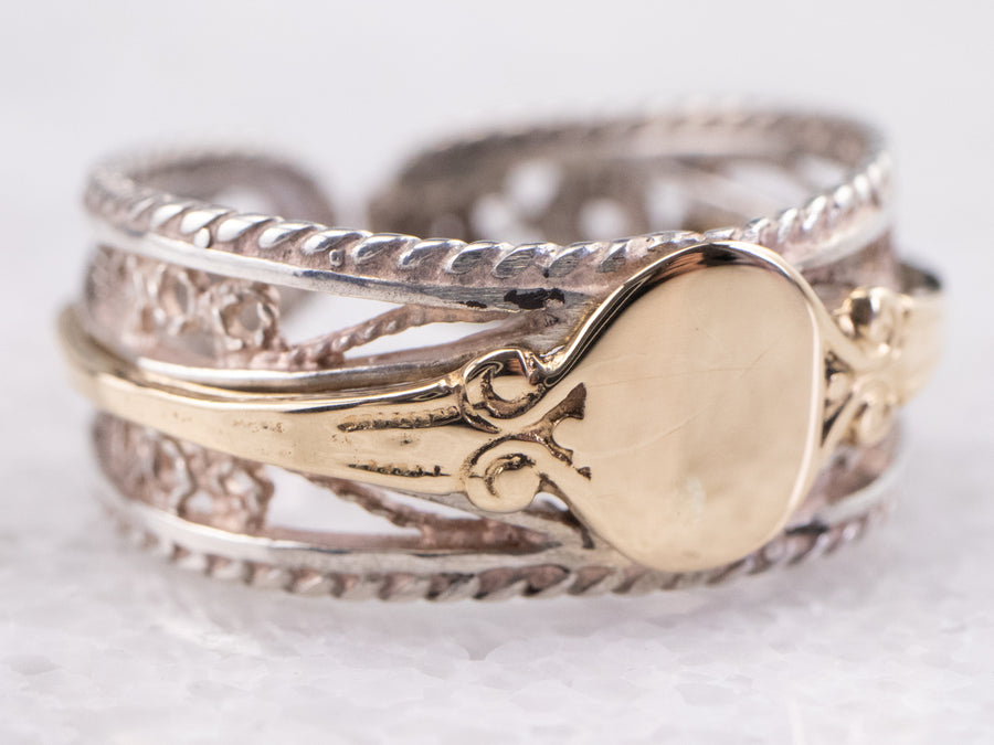 Silver and Gold Filigree Signet Ring