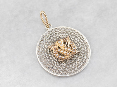 Mixed Metal Seed Pearl Pendant