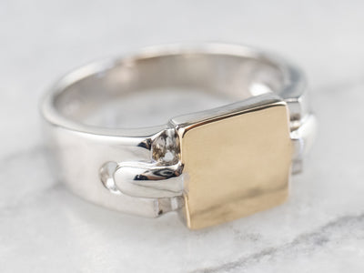 Unisex Platinum and Gold Signet Ring