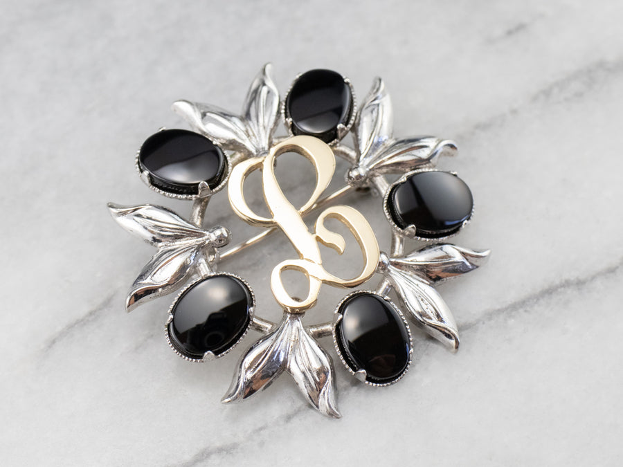 "Onyx Silver and Gold ""L"" Signet Pin"