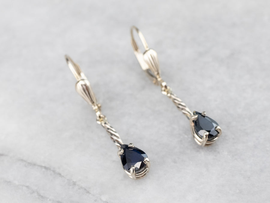 Sapphire White Gold Bar Drop Earrings