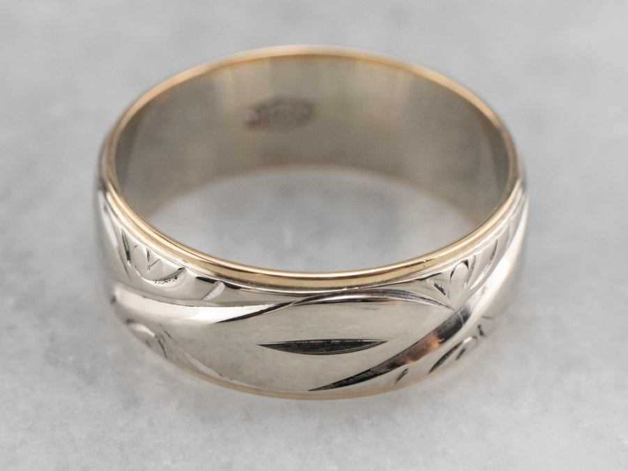 Two Tone 14K Gold Patterned Band