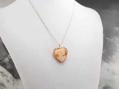 Vintage Heart Cameo Gold Brooch Pendant