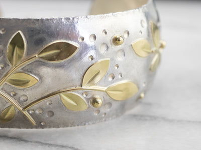 Mixed Metal Botanical Cuff Bracelet