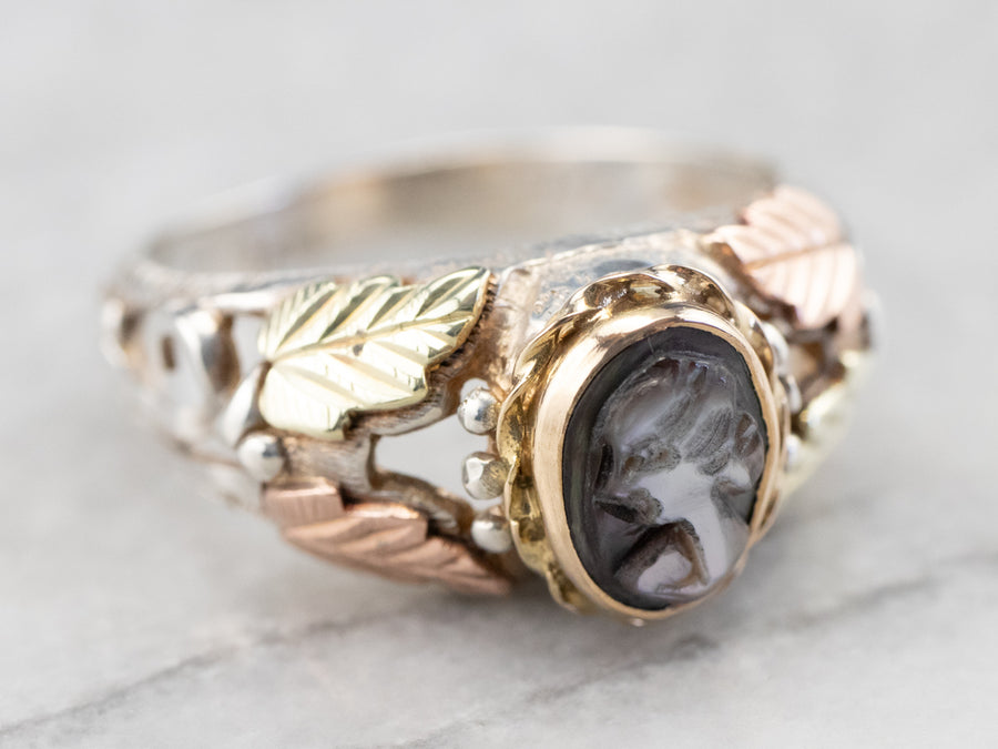 Mixed Metal Abalone Shell Cameo Ring
