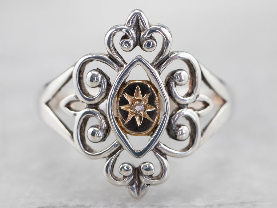 Diamond Starburst Filigree Ring
