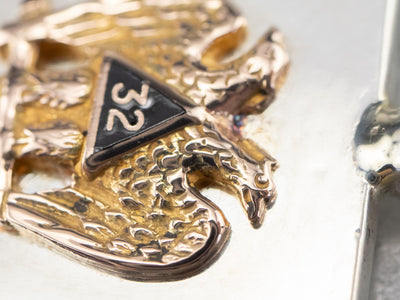 Silver and Gold Double Headed Eagle Masonic Pendant