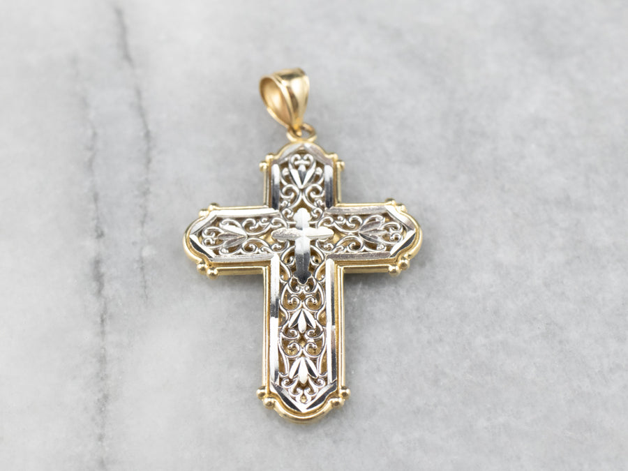 14K Two Tone Gold Filigree Cross Pendant