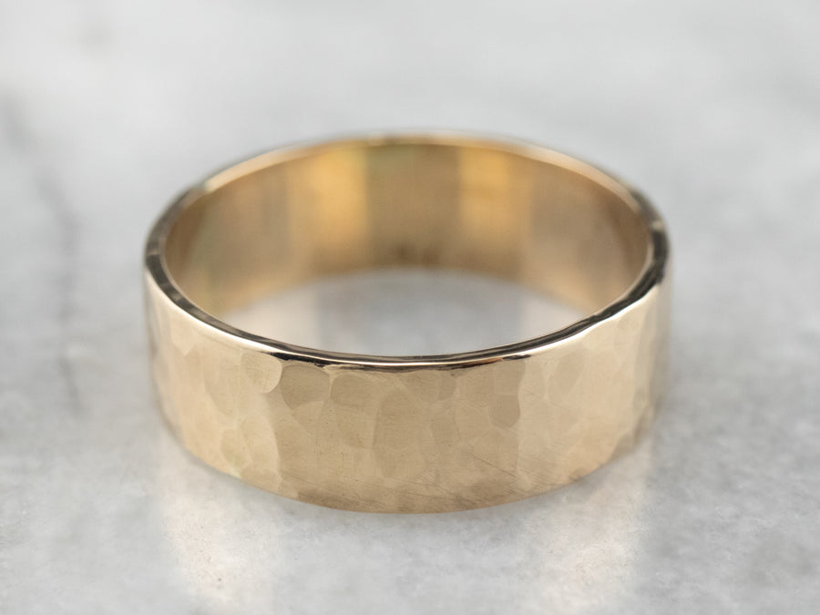 Hammered Gold Unisex Band Ring