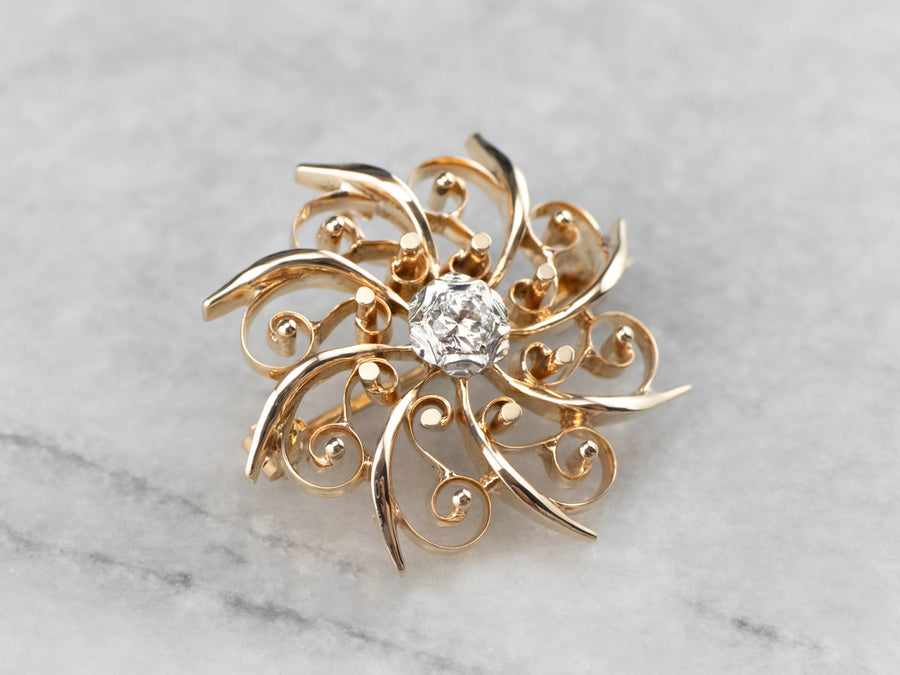Retro Diamond Filigree Gold Brooch