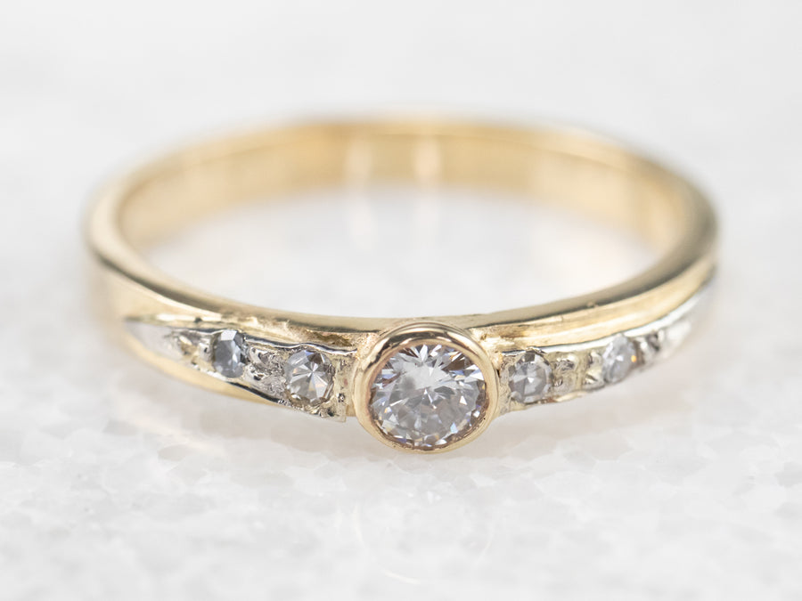 Bezel Set Diamond Gold Band Ring