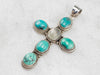 Large Moonstone Turquoise Sterling Silver Cross Pendant