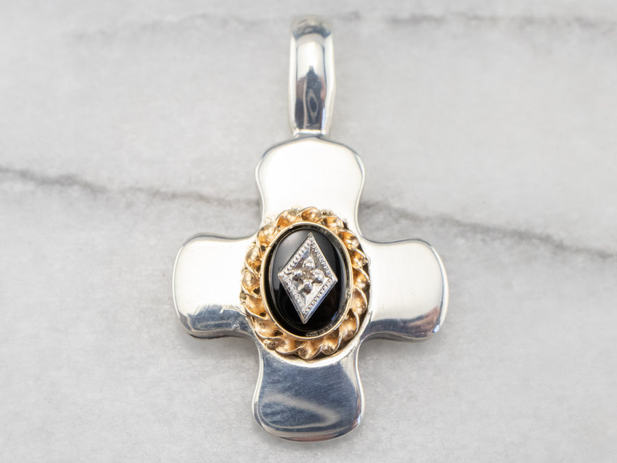 Black Onyx and Diamond Mixed Metal Cross