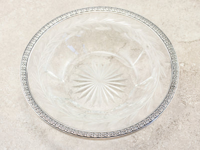 Vintage Sterling Silver and Etched Glass Bowl