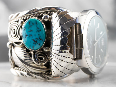Navajo Coral and Turquoise Tissot Watch Cuff
