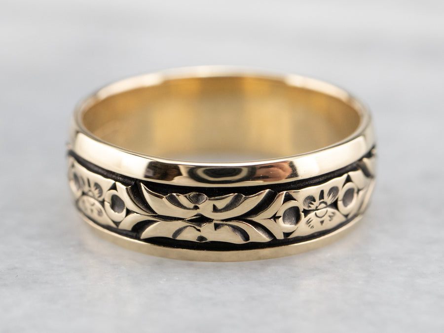 Black Rhodium Floral Pattern Band