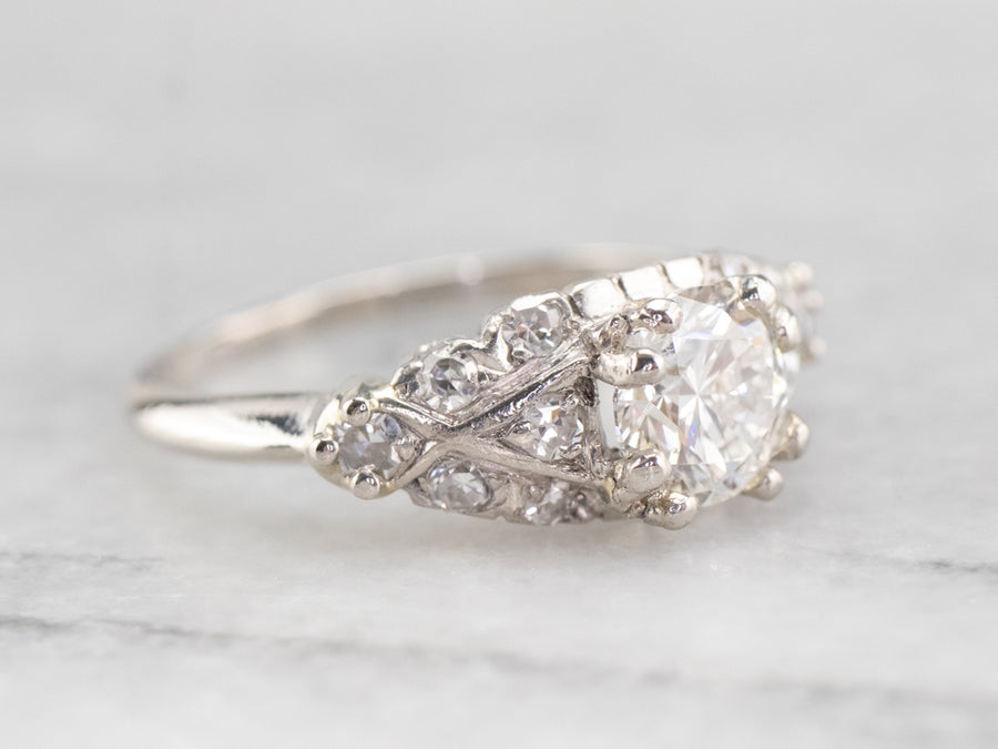 Retro Platinum and Diamond Engagement Ring