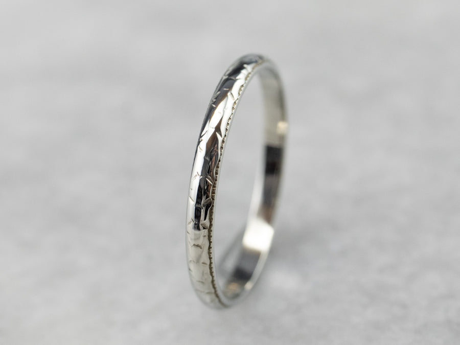 Art Deco Patterned 18K White Gold Wedding Band