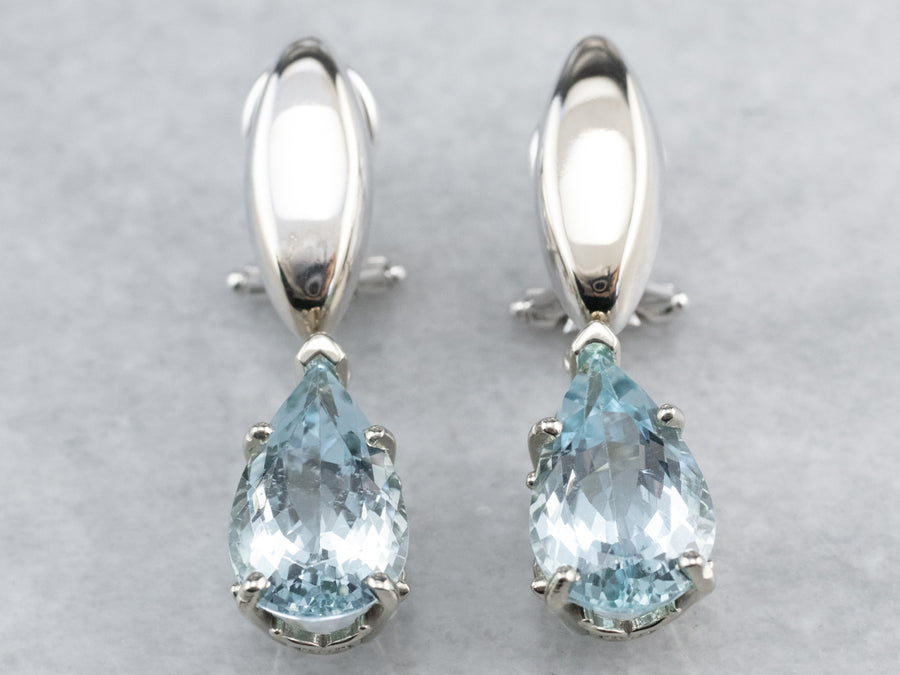 Teardrop Aquamarine Drop Earrings