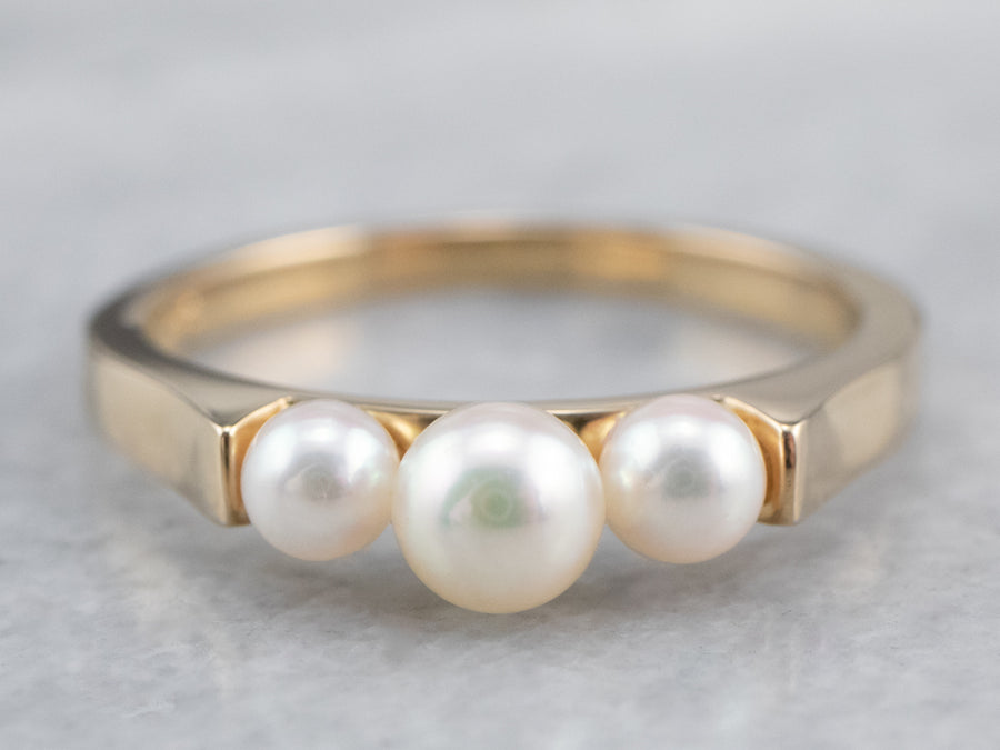 Triple Pearl and Gold Ring