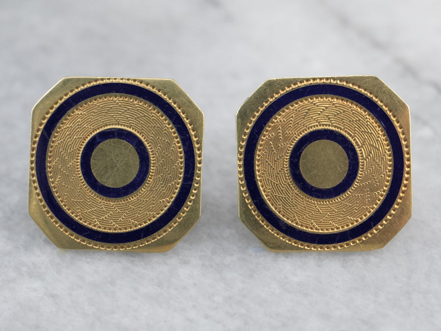 Blue Enamel Gold Geometric Stud Earrings