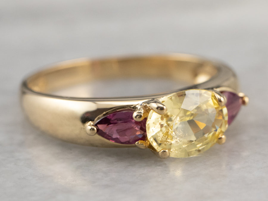 Gold Yellow Sapphire and Ruby Ring