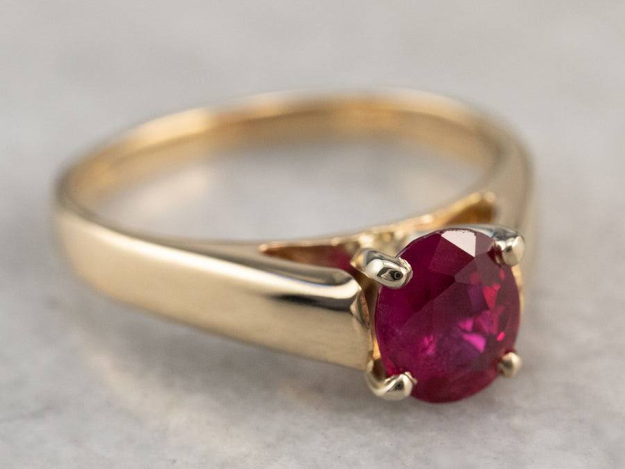Raspberry Ruby Solitaire Ring
