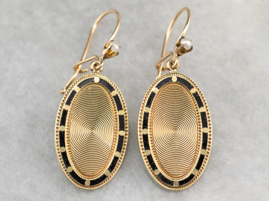 Enamel Seed Pearl and Gold Cufflink Earrings