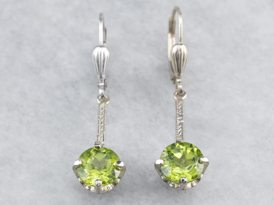 Peridot White Gold Bar Drop Earrings