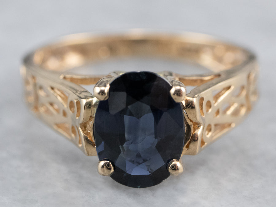 Sapphire Gold Filigree Solitaire Ring