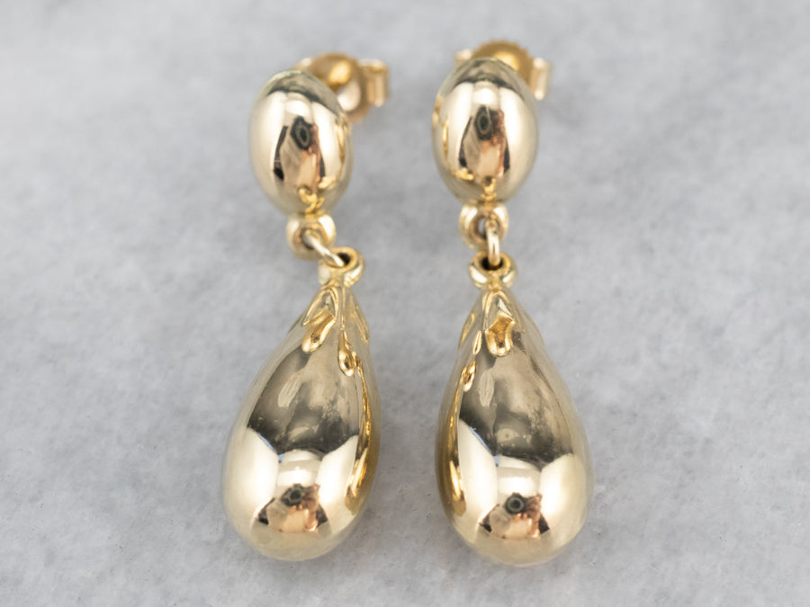 14K Gold Teardrop Drop Earrings