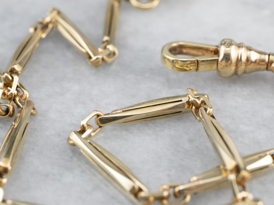 Retro Bar Link Gold Watch Chain