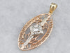 Vintage Diamond Gold Filigree Pendant