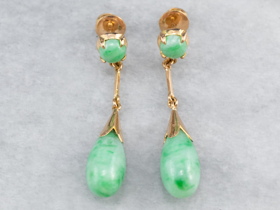 Jade 18K Gold Drop Earrings