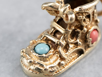 Glass Cabochon Gold Baby Shoe Charm