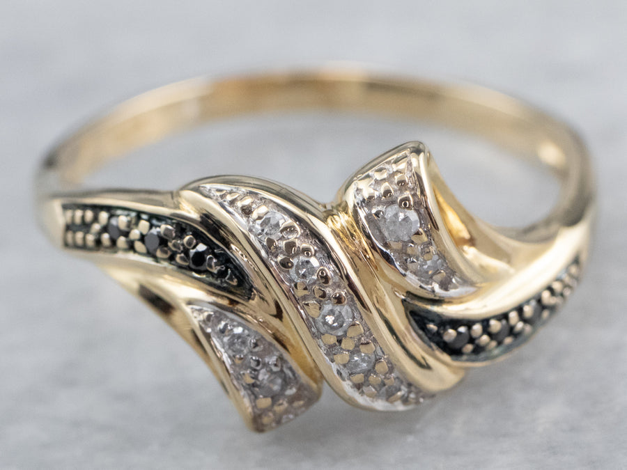 Gold Black and White Diamond Ring