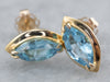 Marquise Blue Topaz Gold Stud Earrings