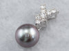 Grey Pearl Diamond Drop Pendant