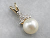 Gold Pearl and Diamond Pendant