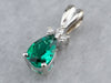 Synthetic Emerald and Diamond Pendant