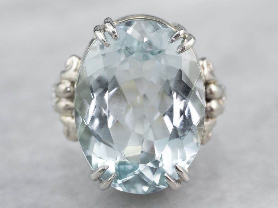 Vintage Blue Topaz and Diamond Ring