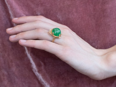 18K Gold Jade and Diamond Cocktail Ring