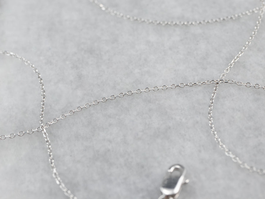 Thin White Gold Oval Link Chain