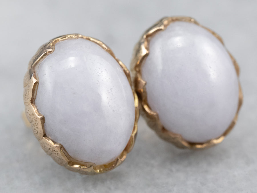 Lavender Jade Gold Stud Earrings