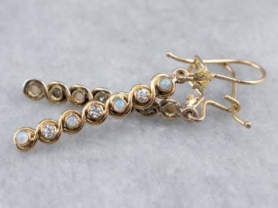 Gold Opal and Diamond Drop Earrings