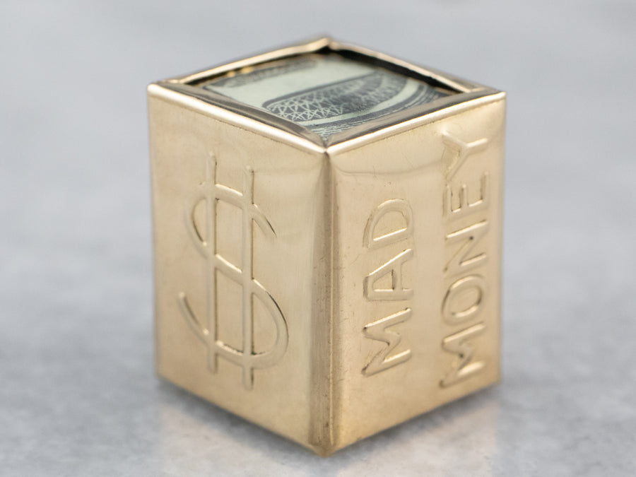Vintage Mad Money Box Gold Charm