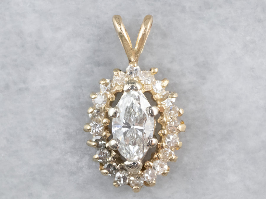 Marquise Diamond Halo Gold Pendant
