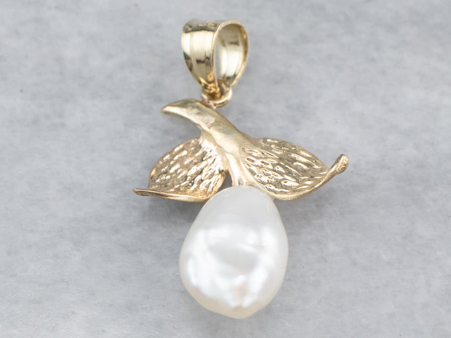 Pearl Pear Gold Botanical Pendant